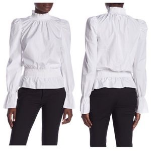 FRAME Smocked Poplin Long Sleeve white Blouse L